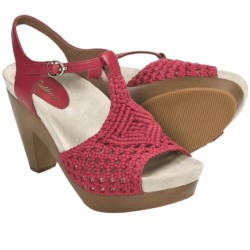 Earthies Amalfi Crochet Sandals - Platform (For Women) in Bright Red