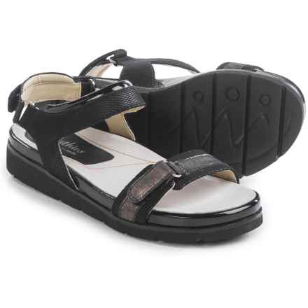 Earthies Argo Sandals - Leather (For Women) in Black Multi Linen Mesh - Closeouts