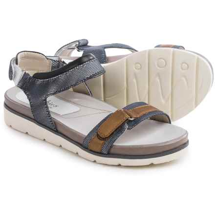 Earthies Argo Sandals - Leather (For Women) in Blue Multi Linen Mesh - Closeouts