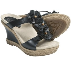 Earthies Bellini Sandals - Leather, Wedge (For Women) in Black Calf