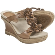 Earthies Bellini Sandals - Leather, Wedge (For Women) in Sand Calf - Closeouts