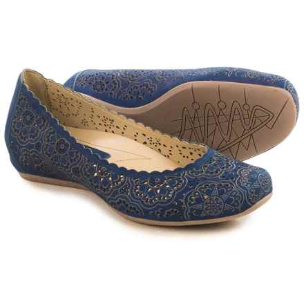 Earthies Bindi Leather Ballet Flats (For Women) in Royal Blue Nubuck - Closeouts
