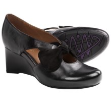 Earthies Bristol Pumps - Wedge Heel (For Women) in Black Calf Leather - Closeouts