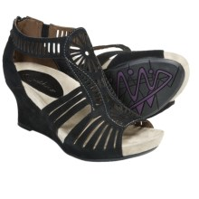 Earthies Carmona Sandals - Suede, Wedge Heel (For Women) in Black - Closeouts
