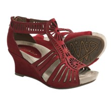 Earthies Carmona Sandals - Suede, Wedge Heel (For Women) in Jazzy Red - Closeouts