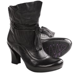 Earthies Eleganza Ankle Boots - Side Zip, Leather (For Women) in Wine Leather