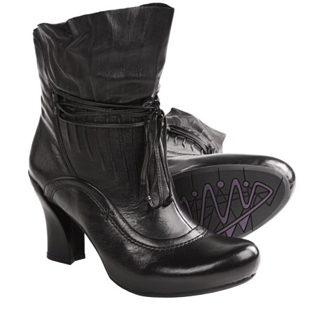 Earthies Eleganza Ankle Boots - Side Zip, Leather (For Women) in Black Leather