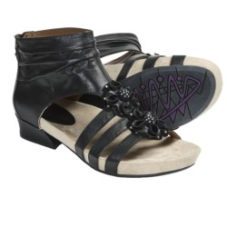 Earthies Eviya Gladiator Sandals - Leather (For Women) in Black Calf