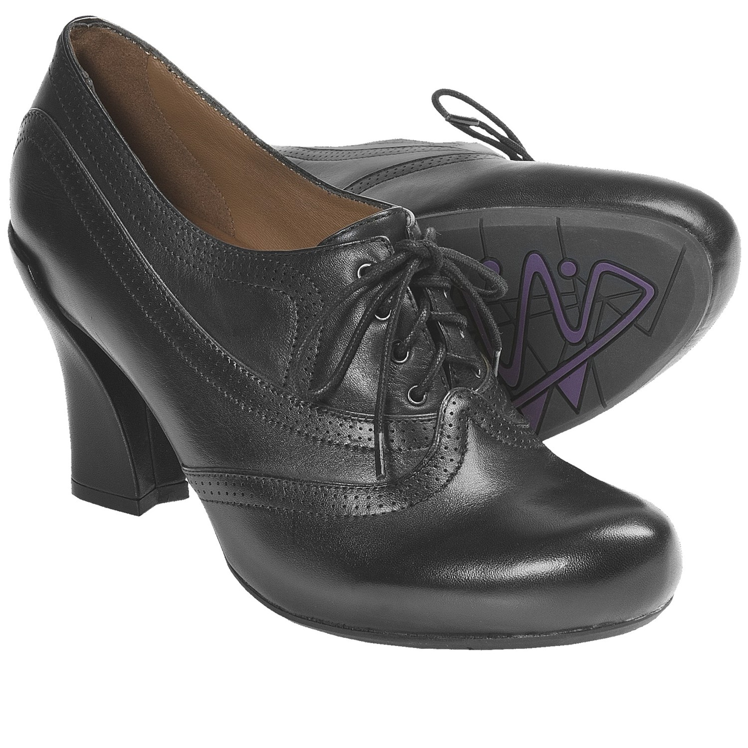 Black Oxford Heels Shoes for Women