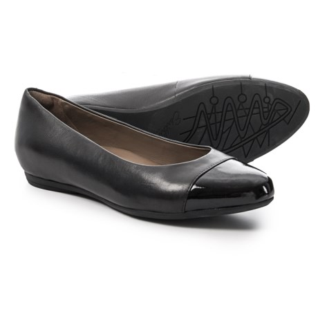 Earthies Hanover Cap Toe Ballet Flats - Leather (For Women) in Black Leather