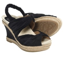 Earthies Javea Wedge Sandals - Suede (For Women) in Black - Closeouts