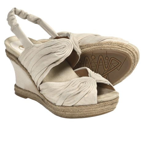 Earthies Javea Wedge Sandals - Suede (For Women) in Desert