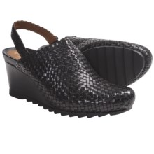 Earthies Katina Clogs - Woven Leather (For Women) in Black Calf - Closeouts