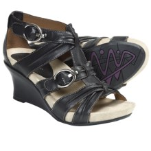 Earthies Lucia Too Wedge Sandals - Leather (For Women) in Black Leather - Closeouts