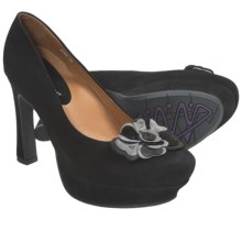 Earthies Monza Pumps - Leather (For Women) in Black Suede - Closeouts