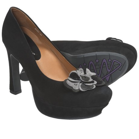Earthies Monza Pumps - Leather (For Women) in Dark Grey Suede