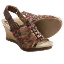 Earthies Petra Wedge Sandals - Woven Leather (For Women) in Bat Multi Calf - Closeouts