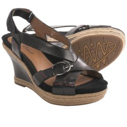 Earthies Salerno Too Wedge Sandals - Sling-Back (For Women) in Black Calf Leather