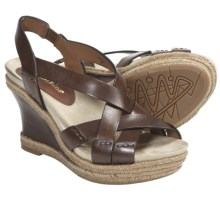 Earthies Salerno Wedge Sandals - Leather (For Women) in Almond Calf - Closeouts