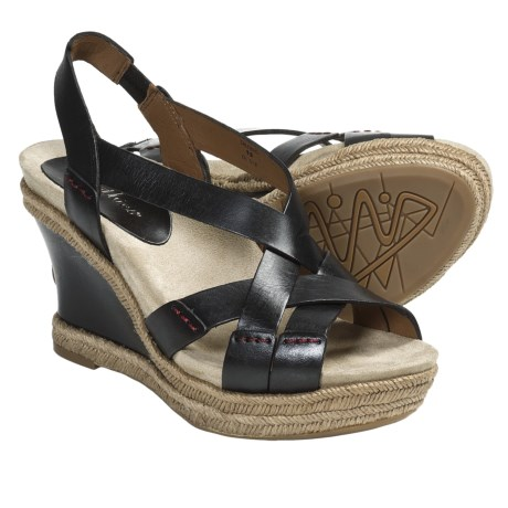 Earthies Salerno Wedge Sandals - Leather (For Women) in Black Calf