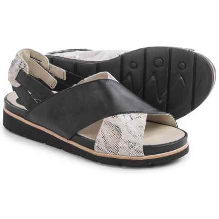 Earthies Santorini Sling-Back Sandals - Leather (For Women) in Black Silky - Closeouts