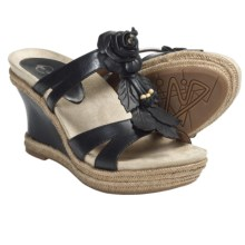 Earthies Semprini Wedge Sandals - Leather (For Women) in Black Calf - Closeouts