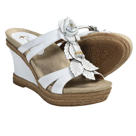 Earthies Semprini Wedge Sandals - Leather (For Women) in White Leather
