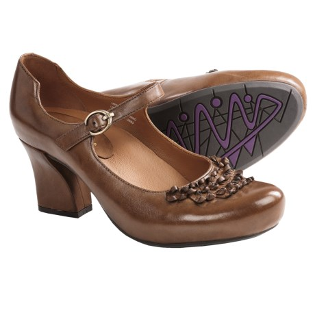 Earthies Shipley Pumps - Leather, Mary Janes (For Women) in Almond Calf