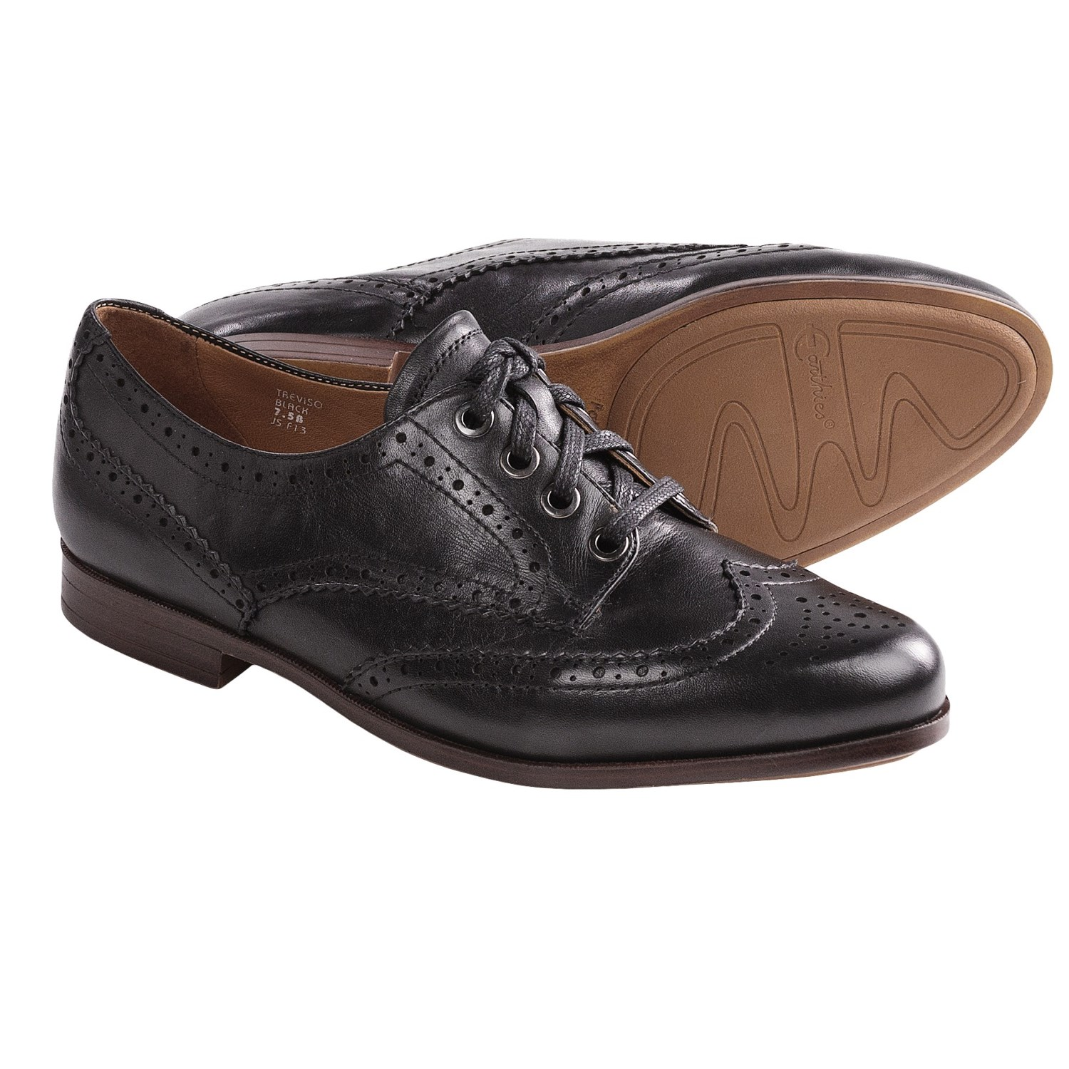 Earthies Treviso Wingtip Shoes - Oxfords (For Women) in Black Calf