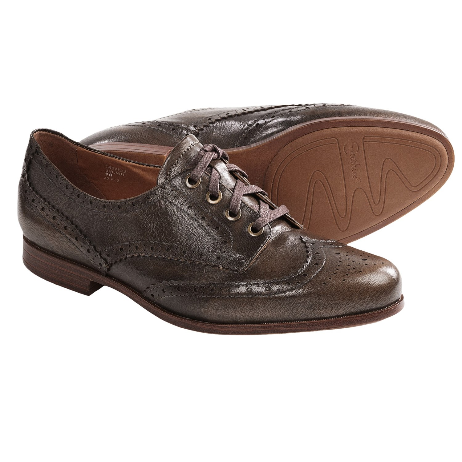 Earthies Treviso Wingtip Shoes - Oxfords (For Women) in Walnut Leather