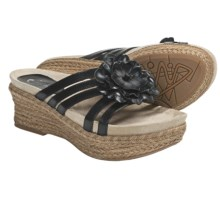 Earthies Valencia Wedge Sandals - Leather (For Women) in Black Calf - Closeouts