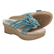 Earthies Valencia Wedge Sandals - Leather (For Women) in Teal Calf - Closeouts