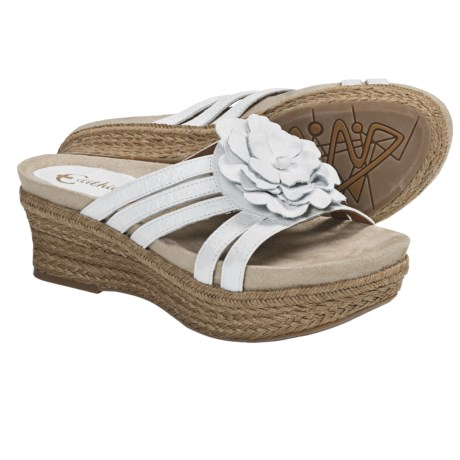 Earthies Valencia Wedge Sandals - Leather (For Women) in White Leather