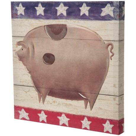 "East Coast Graphics 16x16"" Americana Pig Print in See Photo"