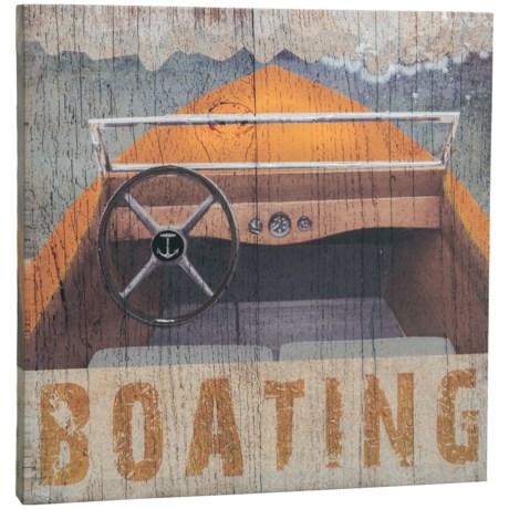 "East Coast Graphics 16x16"" Wood ""Boating"" Print in See Photo"