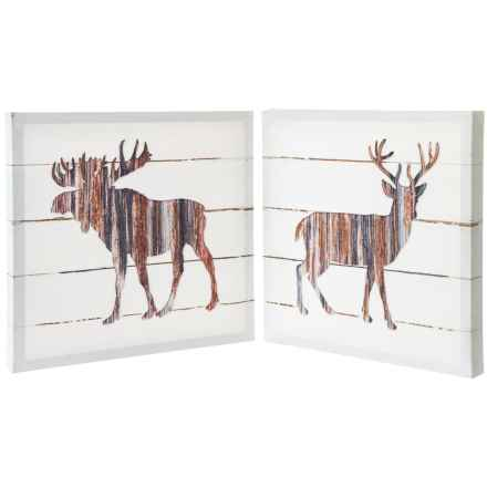"""East Coast Graphics 16x16"""" Woodland Deer and Moose Printed Canvas - Set of 2 in See Photo - Closeouts"""