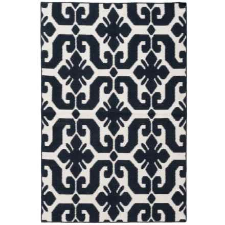 "Easy Care Indoor-Outdoor Accent Rug - 3'6""x5'6"" in Indigo/Cream Motif - Closeouts"