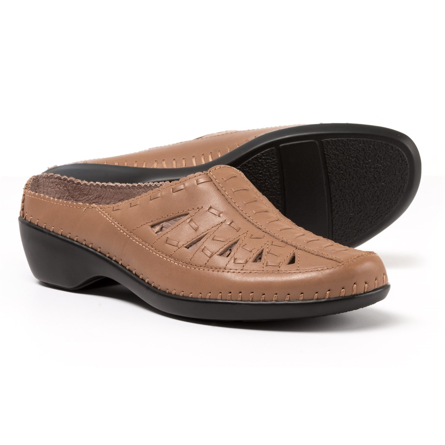 Easy Spirit Dolly Mule Shoes Leather For Women In Dark Natural