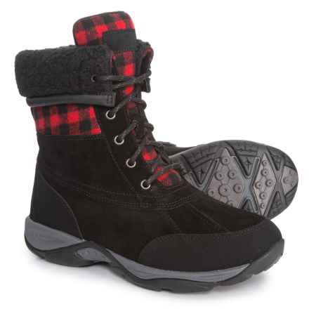 Easy Spirit Elevate Winter Boots - Suede (For Women) in Black/Red Multi