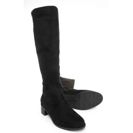 Easy Spirit Niah 2 Tall Boots - Suede (For Women) in Black Super Fine Suede/Stretch Crepe - Closeouts