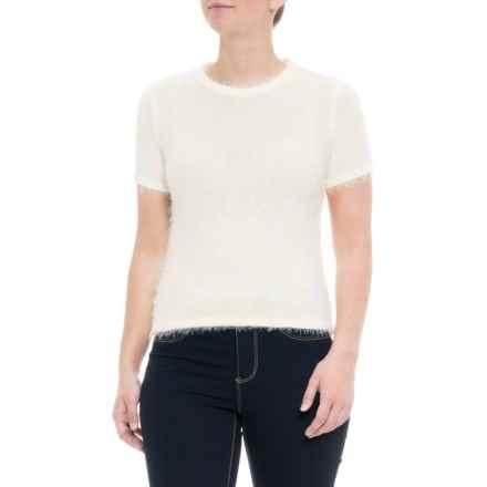 Ebby & I Australian Designer Fluffy Crop Sweater - Short Sleeve (For Women) in White - Closeouts