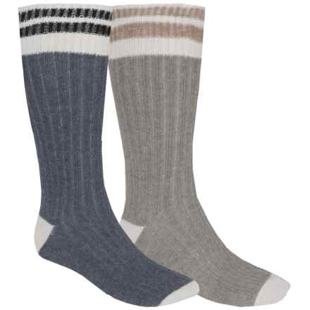 ECCO Angora-Wool Blend Casual Socks - 2-Pack, Over the Calf (For Men) in Blue/Grey - Closeouts