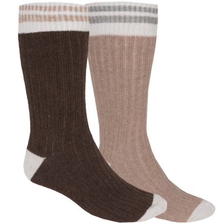 ECCO Angora-Wool Blend Casual Socks - 2-Pack, Over the Calf (For Men) in Brown/Khaki