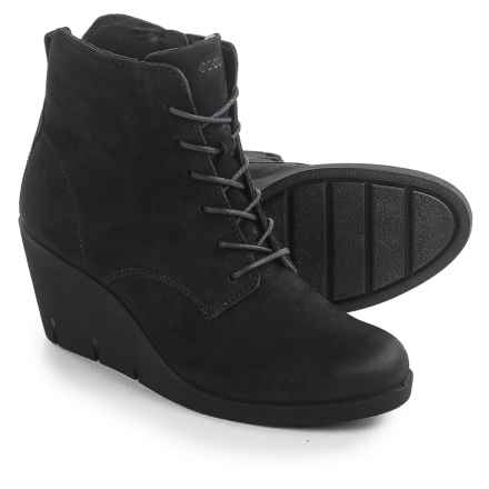 ECCO Bella Wedge Ankle Boots - Nubuck (For Women) in Black Starbuck - Closeouts