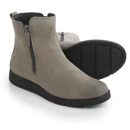 ECCO Bella Zip Ankle Boots - Nubuck (For Women) in Warm Grey - Closeouts