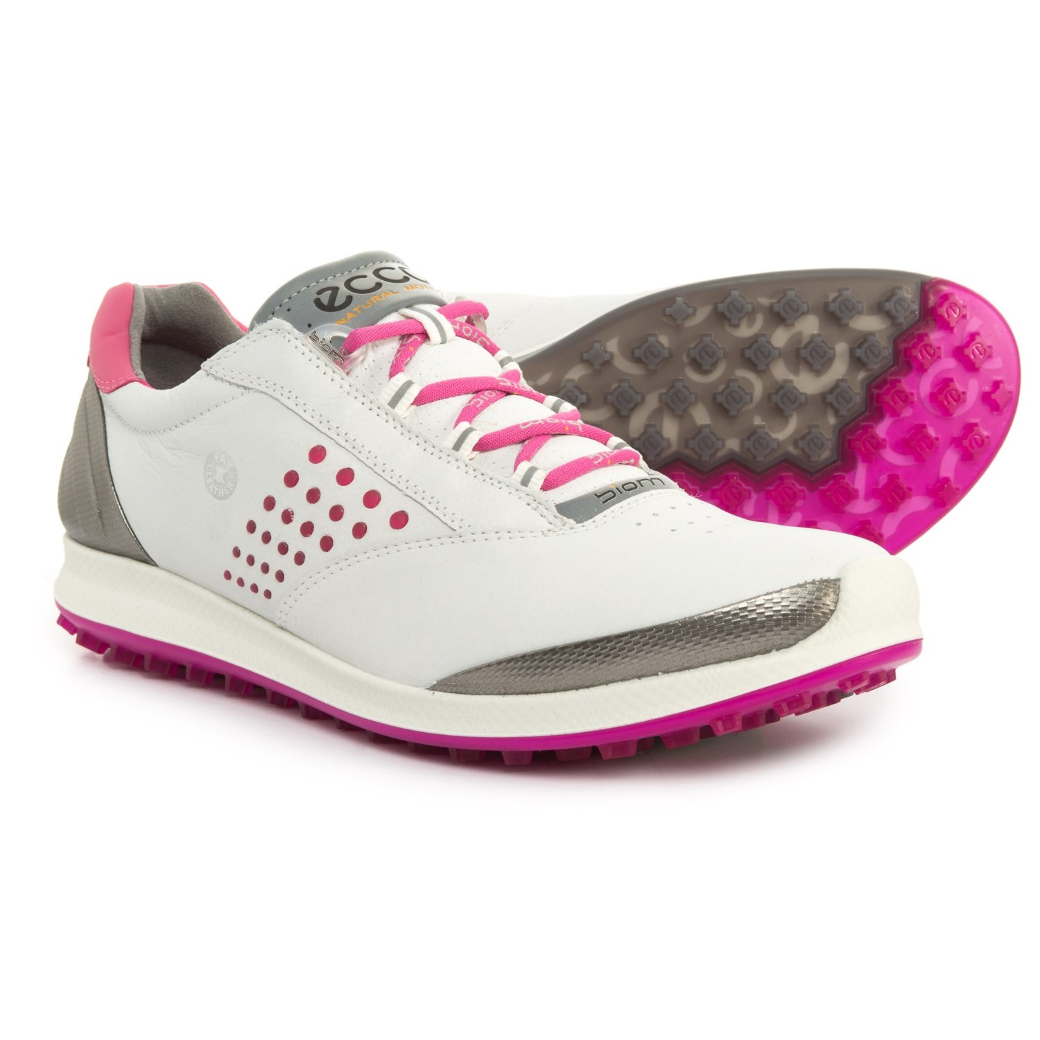 ECCO BIOM Hybrid 2 Golf Shoes (For Women) in White/Candy
