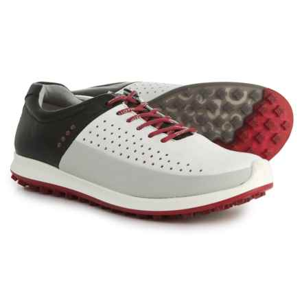 ECCO Biom Hybrid 2 Golf Shoes - Yak Leather (For Men) in White/Concrete/Black - Closeouts