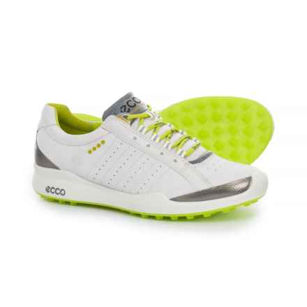 ECCO Biom Hybrid Golf Shoes - Yak Leather (For Women) in White/Lime Punch - Closeouts