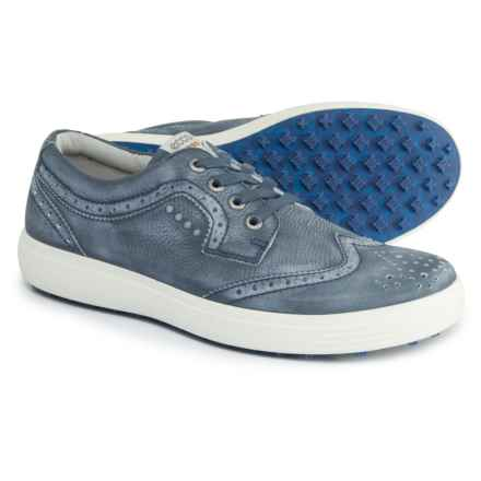 ECCO Casual Hybrid Wingtip Golf Shoes - Leather (For Men) in True Navy - Closeouts