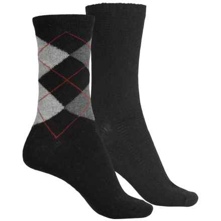 ECCO Casual Socks - 2-Pack, Crew (For Women) in Black/Black Argyle - Closeouts